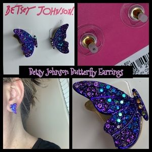 Betsey Johnson Blue Purple Butterfly 🦋 Earrings